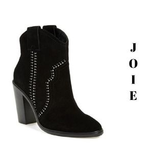 JOIE Black Suede Leather Studded Western Boots